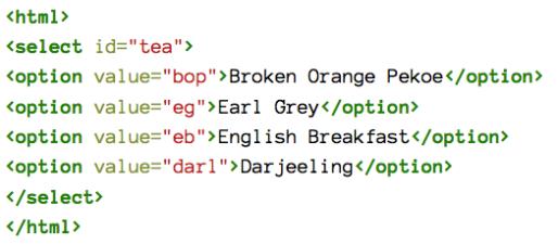 list of tea html