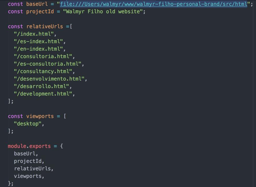 Arquivo basicConfig.js já editado.