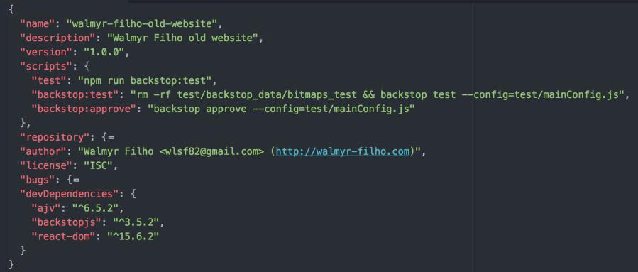 Arquivo package.josn editado com a seção de scripts.