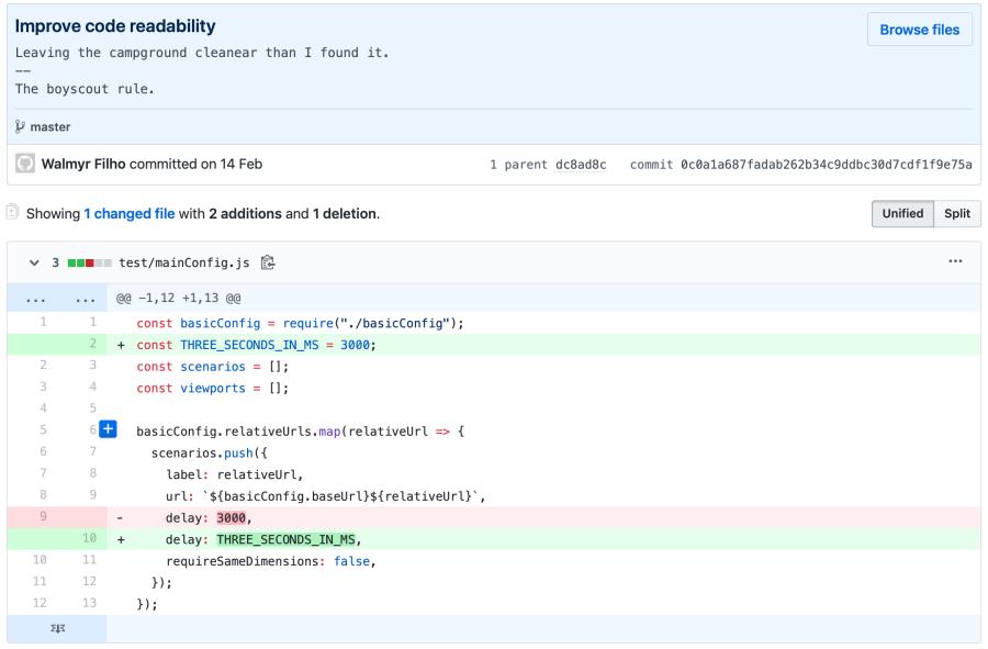 git diff em uma limpeza de código