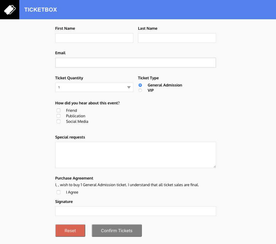 screenshot de um formulário vazio