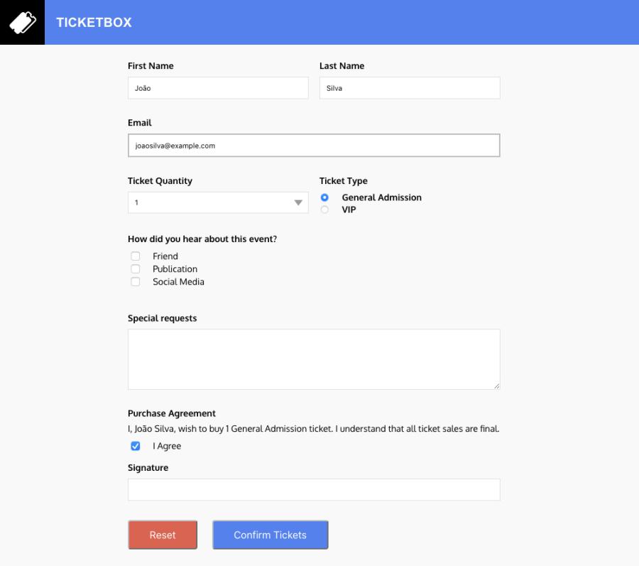 screenshot de um formulário preenchido